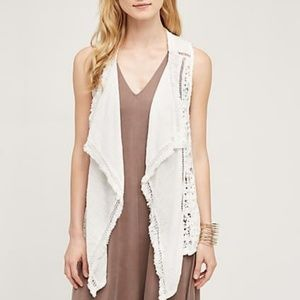 Anthropologie Lilka draped lace vest ivory fringe